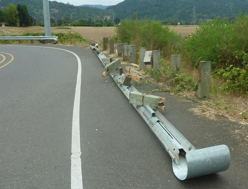 crash barrier, unsafe to drive