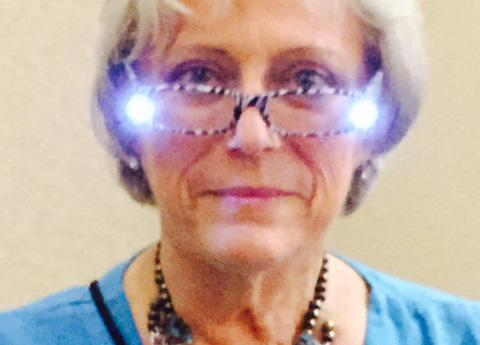 Illuminated reading glasses help when it is dark