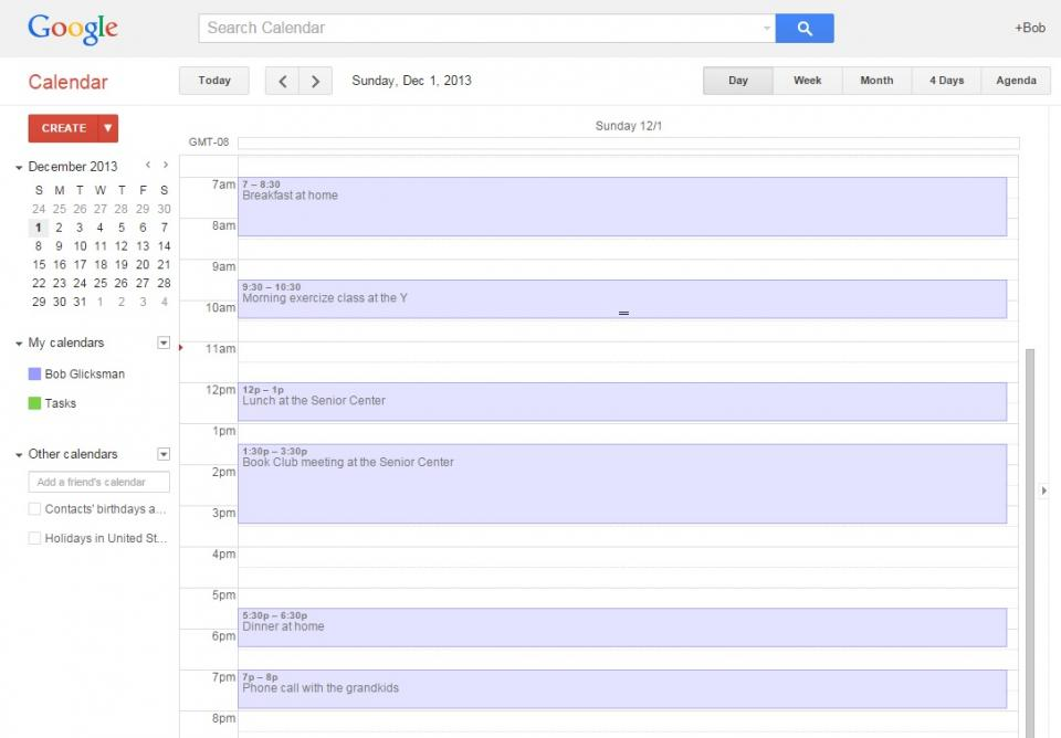 Avoiding short term memory loss: Daily activities on Google Calendar