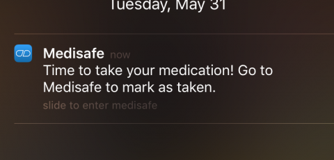 Medication reminder screen