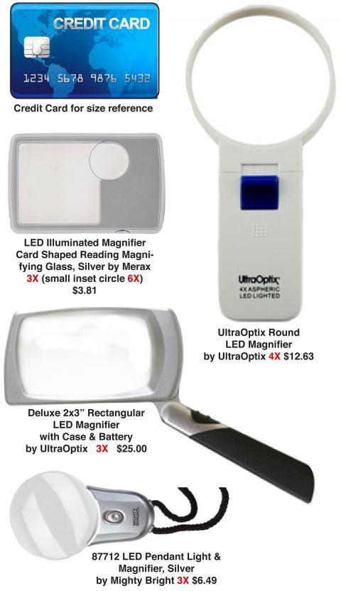 relative sizes of lighted magnifiers