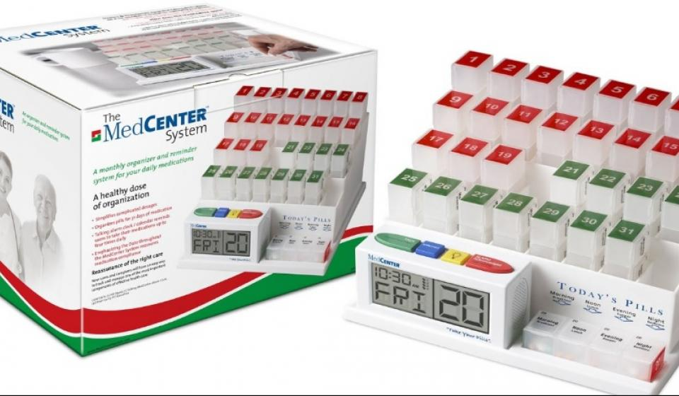 MedCenter 31-Day Pill Organizer with Reminder, medication organization and management